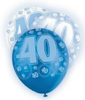 Blue Glitz Age 40 Latex Balloons (6)